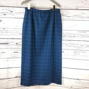 Vintage Pendleton wool skirt blue plaid with slip